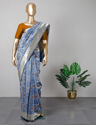 Grey silk saree for women