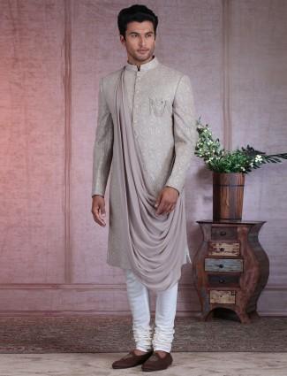 Grey silk thread worked wedding sherwani