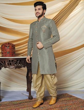 Grey silk wedding special indo western