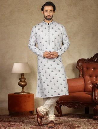 Grey sober linen kurta suit for mens