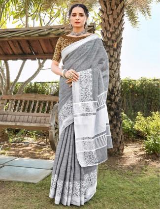 Grey soft linen saree with thread work border
