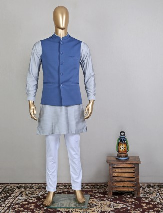 Grey solid terry cotton party wear waistcoat set