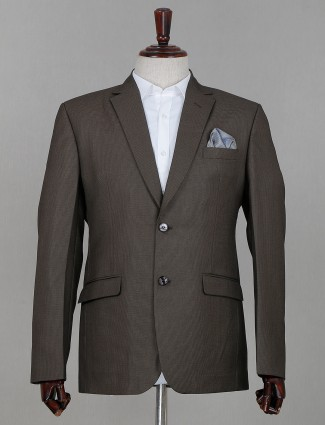 Grey solid terry rayon coat suit