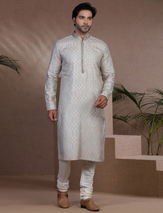 Grey stand neck cotton silk kurta suit with zari touch
