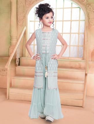 Grey Stunning georgette party wear sharara suit