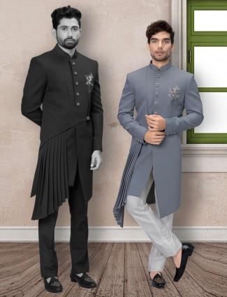 Grey terry rayon mens indo western wedding wear