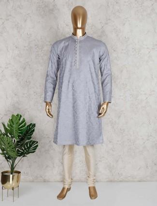 Grey thread work cotton kurta suit