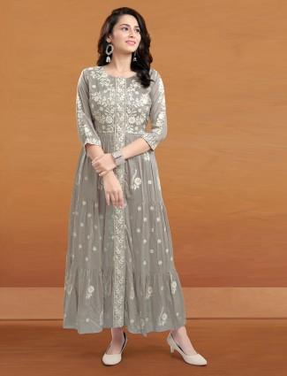Grey thread work festive kurti in cotton