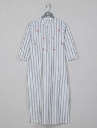 Grey tint stripe style cotton kurti for women