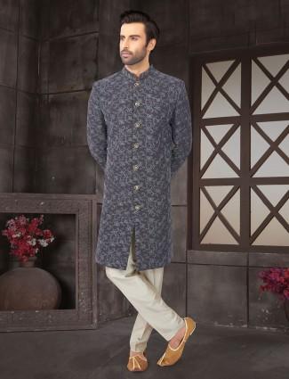 Grey wedding function cotton silk semi indo western