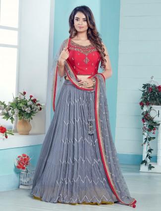 Grey wedding function georgette lehenga choli for women