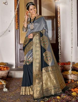 Grey wedding occasions banarasi silk saree