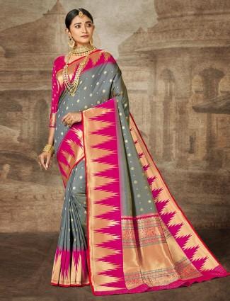 Grey wedding session sari in banarasi silk