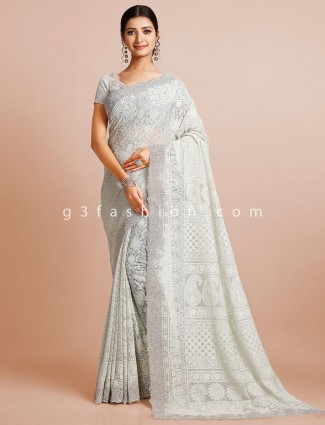 Grey wedding wear georgette saree with readymade blouse