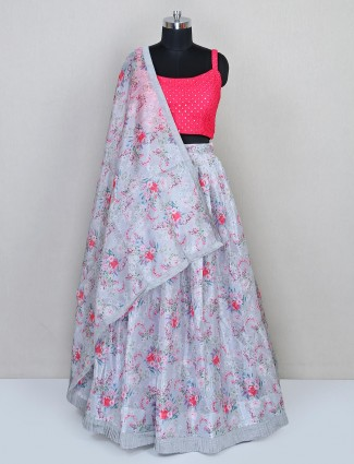 Grey wedding wear printed lehenga for women