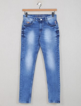 GS78 blue slim fit washed casual jeans