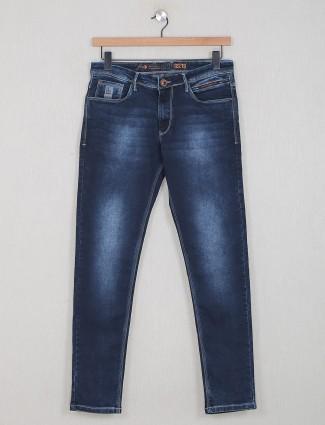 GS78 slim fit navy washed denim jeans for mens