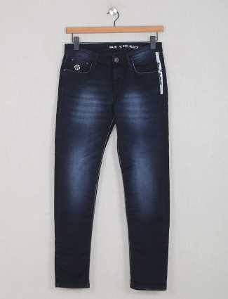 GS78 washed black slim fit mens jeans
