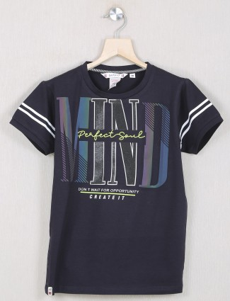 Gusto brand printed navy t-shirt for boys