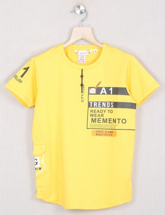 Gusto bright yellow cotton t-shirt for boys