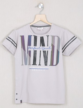 Gusto casual printed style grey t-shirt