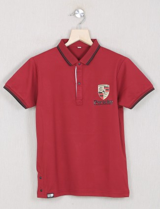 Gusto maroon shade solid style t-shirt