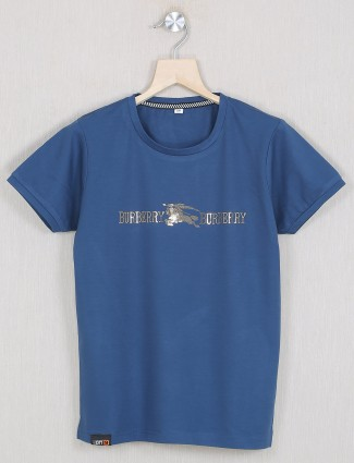 Gusto navy hue casual style t-shirt for boys in cotton