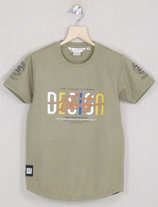 Gusto olive shade cotton t-shirt for little boys