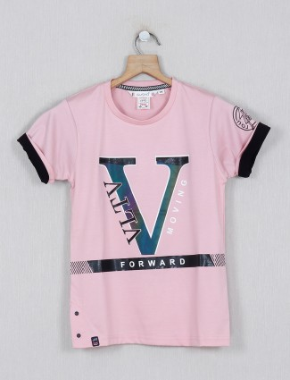 Gusto pink cotton printed casual t-shirt