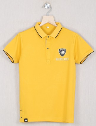 Gusto presented solid style yellow shade t-shirt