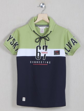 Gusto printed olive green and navy cotton t-shirt