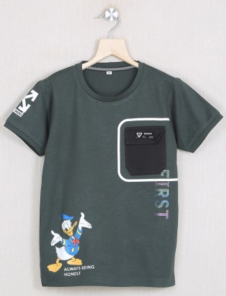 Gusto printed style olive hue t-shirt for boys
