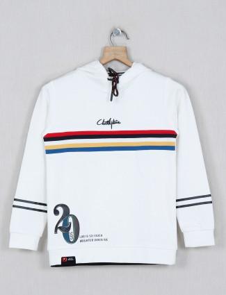 Gusto printed white full sleeves t-shirt