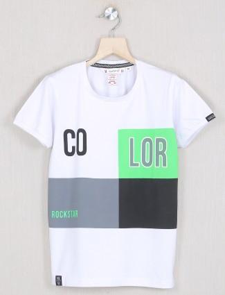Gusto printed white shade cotton t-shirt