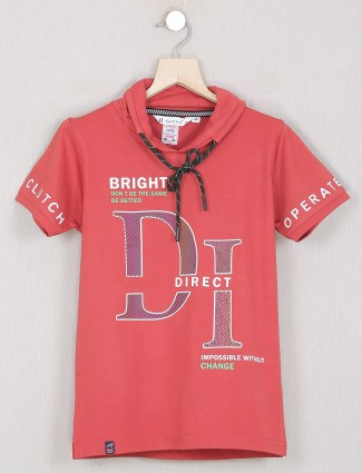 Gusto salmon red hue cotton t-shirt