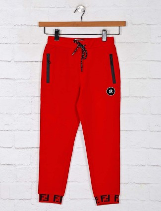 Gusto Solid red casual trackpant
