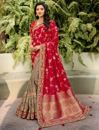 Half and half grey and purple saree for wedding