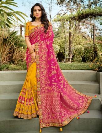 Half and half yellow and pink wedding wear saree