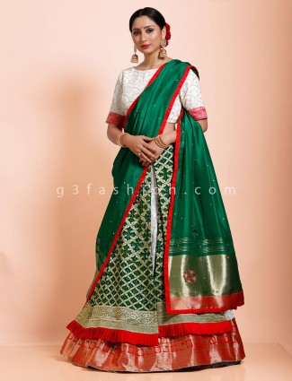 Half n half style green and white bandhej designer lehenga choli