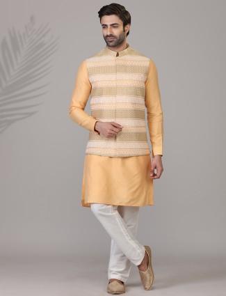 Heavy embroidered orange silk waistcoat set