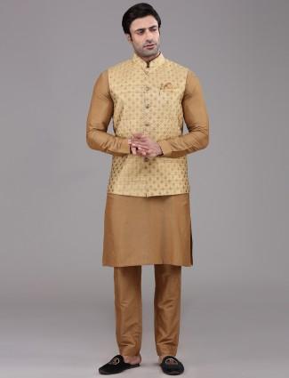 Heavy thread work mustard yellow silk waistcoat set