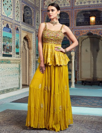 Honey yellow wedding events georgette palazzo suit in punjabi style