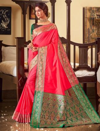 Hot pink soft silk wedding saree