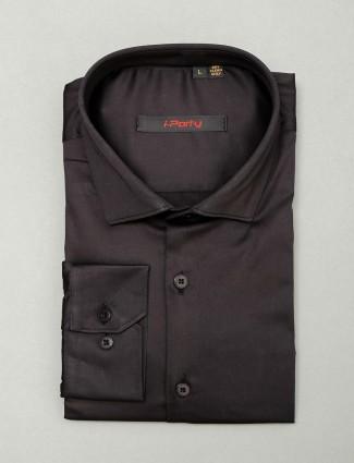 I Party black slim fit cotton shirt