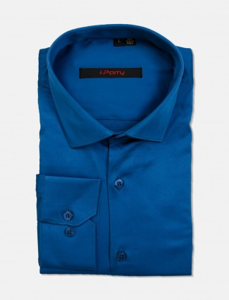 I Party blue cotton cut away collar shirt