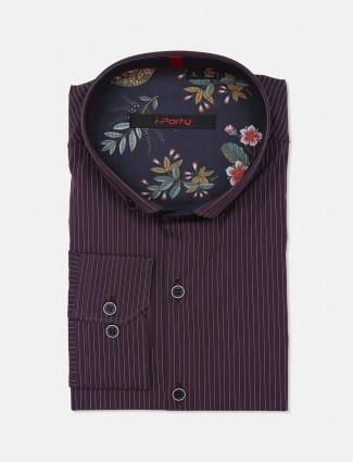I Party cotton purple party wear shirt