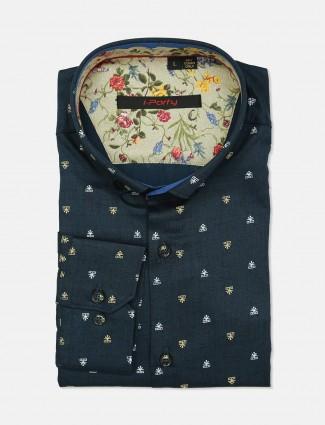 I Party navy cotton printed shirt