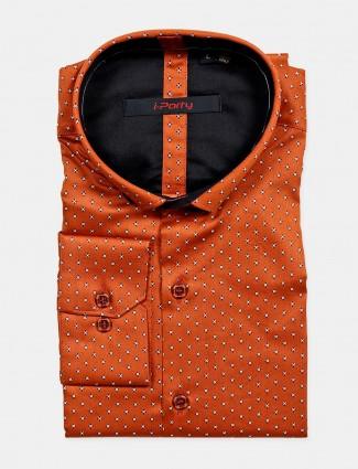 I Party orange printed pattern shirt