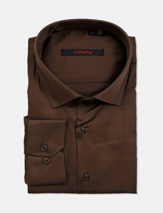 I Party party wear brown cotton mens shirt