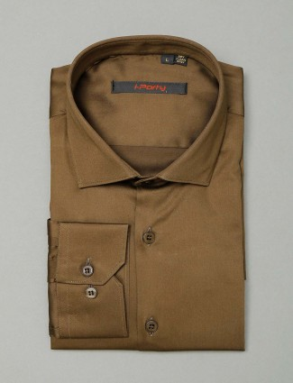 I Party party wear brown cotton shirt